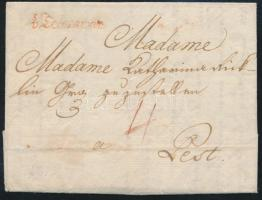 1786 Portós levél / cover with postage due piros / red v Temeswar - Pest