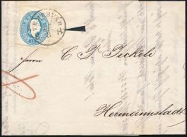 1862 15kr levélen / On cover TEMESVÁR B.H. - Hermannstadt