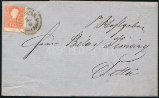 1859 Képbe fogazott 5kr II. levélen / With shifted perforation on cover TEMESVAR Vorst. Fabrik. - DETTA