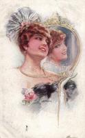 Woman with mirror 'Erkal' No.304/4 s: Usabal, Nő gyöngysorral a tükör előtt, 'Erkal' No.304/4 s: Usabal