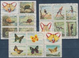 1961 Karácsony: csigák, madarak, pillangók 3 hatostömb Mi 731-745
