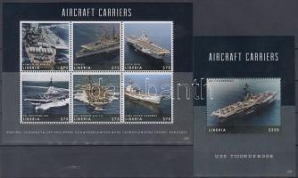 Repülőgép szállító anyahajók kisív + blokk Aircraft carrier ships mini sheet + block