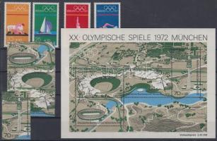 1972 Nyári olimpia sor + blokkból kitépett értékek Mi 719-726 + blokk Mi 7