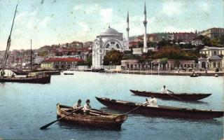 Constantinople, Mosque of Dolmabahce, boats (fl)