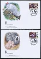 2009 WWF: Szürke papagáj sor 4 db FDC-n Mi 3777-3780