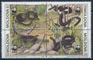 1993 WWF: Kígyók négyestömb Mi 50-53 + 4 db FDC, a hivatalos megjelenéshez képest 27 nappal korábbi dátummal