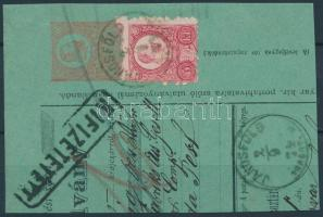 1871 Réznyomat 5kr 5kr díjjegyes utalvány kivágáson / Mi 10 on PS- cutting JÁNOSFÖLD TORONT.M