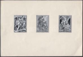 ~1950 Légrády Sándor Május 1. kiadásra készült 3 db mérethű, részletgazdag bélyegterve, tempera és tus, mindhárom kifogazott papíron, papírlapra ragasztva / 3 different essays of S. Légrády