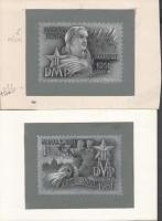 1951 Légrády Sándor MDP Kongresszus kiadásra készült 5 darabos bélyegterv sorozata, szép ceruza grafikák (néhol temperával kiegészítve), 5 db 11 x 8cm színes papíron / 5 different essays of S. Légrády