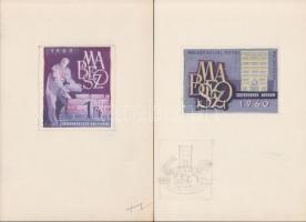 1960 Légrády Sándor a Bélyegbemutató kiadásra készült 3 db-os színes bélyegterv sorozata, tempera, 6-11 x 5.8-7.7 cm, közte egy szignózott / 3 different essays of S. Légrády
