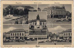 Makó,  Megyeháza, Hősök szobra, Bérpalota, Korona szálló, Széchenyi tér