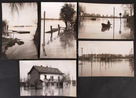 cca 1960-1970 Árvíz a Tisza mentén, 5 db riportkép, 9x15 cm