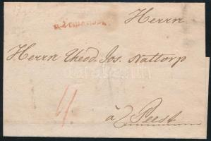 1784 Portós levél / cover with postage due piros / red v.Temeswar (Gudlin 400 pont) - Pest
