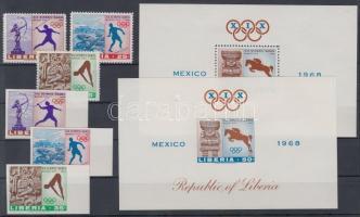 1968 Mexikói nyári olimpia fogazott és vágott sor Mi 706-708 + blokkpár Mi 46 A-B