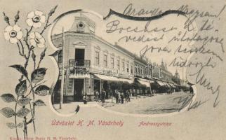 Hódmezővásárhely, Andrássy utca, floral, kiadja Reisz bazár