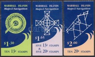 1985 Sziget térképek 3 klf bélyegfüzet Mi 40 D + 41 D + 40D-41D