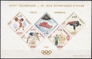 1964 Tokiói olimpia különnyomat vágott blokkformában Mi 784-788 imperforate block