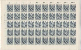 Official 9 values, folded sheets of 50 Hivatalos hajtott 50-es teljes ívekben