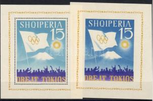 1964 Tokioi Olimpia fogazott+vágott blokk Mi 22-23