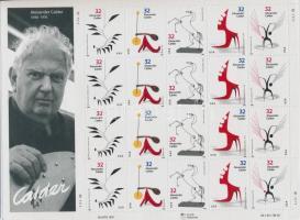 1998 Alexander Calder 4 sort tartalmazó kisív Mi 2943-2947
