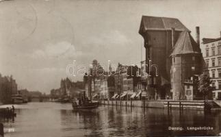 Gdansk, Danzig; Langebrücke / bridge, steamship