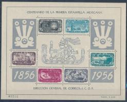 Centenary of Mexican stamp perforated + imperforated block 100 éves a mexikói bélyeg fogazott + vágott blokk