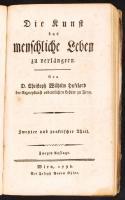Christoph Wilhelm Hufeland: Die Kunst das menschliche Leben zu verlängern I.-II. Jena, 1798.  Akademische Buchhandlung hiányzó gerincű papírkötésben / in paper binding (spine missing)