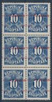 1925 Portó Mi 26 hatostömb eltolódott + több fordított felülnyomással / Postage due Mi 26 block of 6 with shifted + more inverted overprints