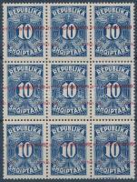 1925 Portó Mi 26 kilences tömb eltolódott + több fordított felülnyomással / Postage due Mi 26 block of 9 with shifted + more inverted overprints