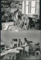 cca 1970 Ismeretlen szerző: Lábgyár I-II., a Gyógyászati segédeszközök gyárában művégtagokat készítenek, 2 db fotó, 9x12 cm