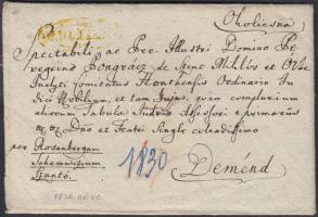 1830 Portós levél / cover with postage due sárga / yellow OKOLITSNA - Deménd