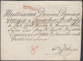1830-1840 Portós levél / cover with postage due piros / red ROSENAU - Pesth