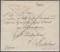 1834 Franco teljes tartalommal / with full content piros / red CASCHAU / FRANCO - Leutschau