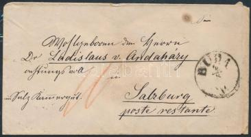 1867 Ausztriába bérmentesítés nélkül feladott levél, portózva / Unfranked cover to Austria with postage due BUDA - WIEN - SALZBURG