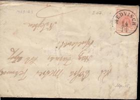 1851 3kr HP I levélen / On cover MEDVISCH - HERRMANNSTADT - NAGYSELYK