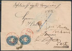 1864 2 x 10kr ajánlott levélen / on registered cover piros / red PEST / RECOMANDIRT többszöri utánküldéssel / several times redirected