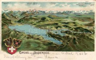 Bodensee map, litho