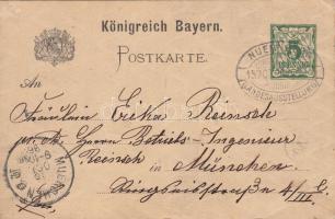 1896 Nürnbergi országos kiállítás díjjegyes képeslap alkalmi bélyegzéssel / Nürnberg exposition private PS-card with special cancellation