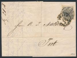 "2kr black with nice margins on cover (with full content, written in Prague, mailed in Pest), 2kr fekete MP IIIa. szép szélekkel helyi levélen (teljes tartalommal) a levelet Prágában írták de csak Pesten adták fel ""PESTH"""