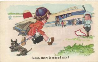 Siess, mert lemaradunk! / Children, humour, airplane Amag
