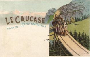 A Kaukázus, az 1900-as Párizsi Világkiállítás reklámlapja, litho s: G.Guich Le Caucase, Porte des Ternes, Porte Maillot / Georgian road, Paris 1900 Expo advertisement, litho s: G.Guich