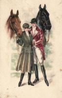 'Amag' Italian art postcard, couple with horses, Olasz művészeti képeslap, lovas pár