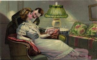 'Enfin Seuls' / 'Finally alone' Kissing couple, romantic postcard, 'Végre egyedül' csókolózó pár, romantikus képeslap