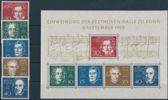 1959 Beethoven blokk Mi 2 + blokkból kiszedett bélyegek Mi 315-319