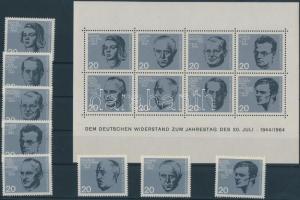 1964 Hitler elleni merénylet 20. évfordulója blokk Mi 3 + blokkból kiszedett bélyegek Mi 431-438