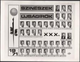 1971 Színészek - újságírók XXX. labdarugó mérkőzése, kistabló 40 nevesített portréval, 18x22 cm