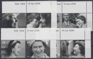 2006 II. Erzsébet királynő 80 éves 4 ívsarki pár (sor) Mi 2400-2407