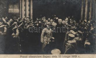 1919 Warsaw, Pilsudski and Paderewski in front of the Sejm building