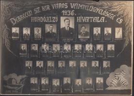 1936 Debrecen sz. kir. város Vámfelügyelősége és Hordójelző hivatala, kistabló 33 nevesített hivatalnok portréjával, 16x23 cm