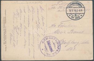 1916 Kaunaszi képeslap német repülő egységtől tábori postával ARMEEFLUGPARK 10.